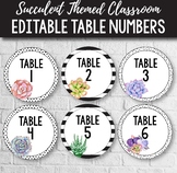 FREE Editable Table Numbers - Succulent Classroom Decor