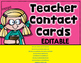 FREE  Editable Teacher Contact Cards