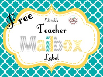 FREE Editable Teacher Mailbox Label in Yellow, Teal, and Gray