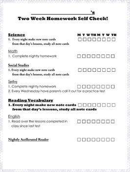FREE Editable Two Week Student Homework Checklist