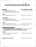 FREE Editable Two Week Student Homework Checklist