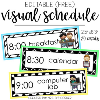 FREE Editable Visual Schedule (20 cards)