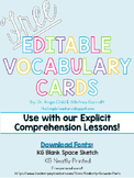 FREE Editable Vocabulary Cards