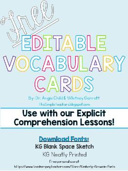 FREE Editable Vocabulary Cards