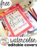 FREE Editable Watercolor Binder Covers