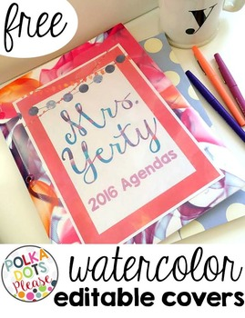 FREE Editable Watercolor Binder Covers