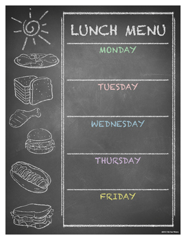 FREE Editable Weekly Lunch Menu