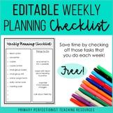 FREE Editable Weekly Planning Checklist