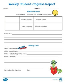Free Editable Weekly Student Progress Report Form By Twinkl