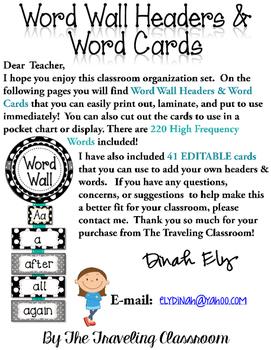 Editable Word Wall Headers & Word Cards {BLACK & WHITE POLKA DOT Theme}