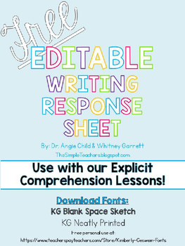 FREE Editable Writing Response Sheet