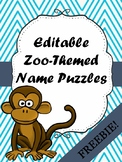FREE Editable Zoo-Themed Name Puzzles