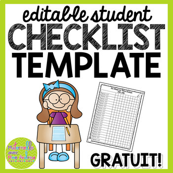 free editable student checklist template
