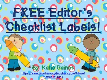 FREE Editor's Checklist Labels