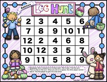 Easter Math Games for Kindergarten 1st Grade 2nd Grade 3rd Grade Spring FREE