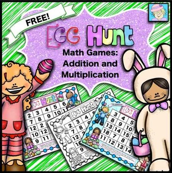 Multiplication and Addition Egg Hunt Games FREEBIE!