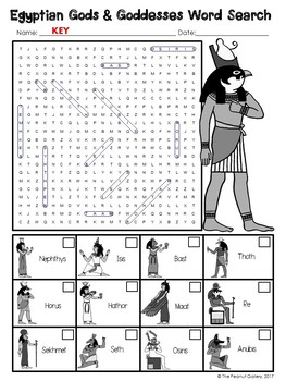 FREE- Egyptian Gods and Goddesses Word Search
