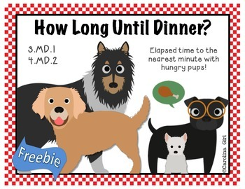 FREE  Elapsed Time Task Cards  to  nearest minute and 5 minute DOGS