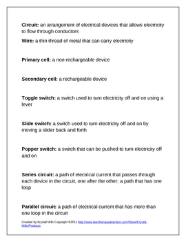 FREE Electricity Definitions