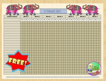 FREE Elephant Themed Attendance Sheet