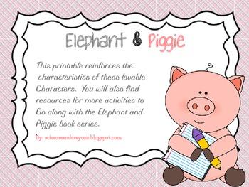 FREE- Elephant and Piggie Characteristics Printable