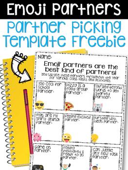 FREE Emoji Themed Picking Partners Template FREEBIE!