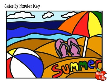 FREE End of Year Color by Number (Summer Theme- Coloring Page)