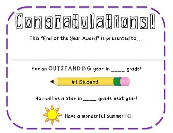 FREE End of the Year Award / Certificate