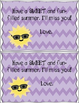 FREE End of the Year Note: Have a SWEET Summer
