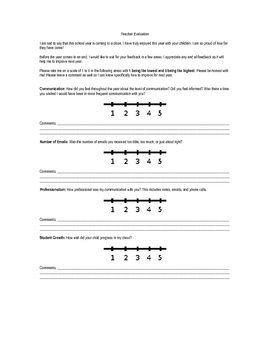 FREE End of the Year Teacher Evaluation