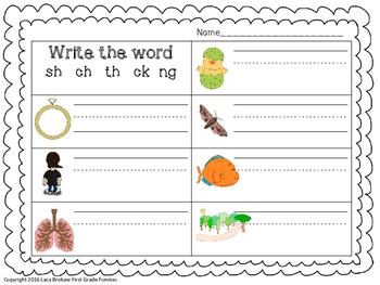 FREE Ending Consonant Digraphs worksheet sh, ch, th, ck, ng