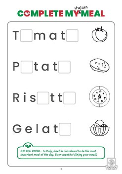 FREE (Eng/Math) Italian Food Activity Pack for Preschoolers (Full Colour)