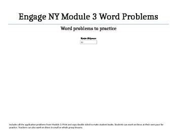 FREE Engage NY Module 3 Application Problems