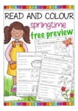FREE English / ESL read and color worksheets - spring / Easter