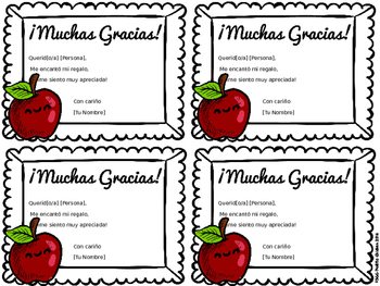 FREE English and Spanish,Thank You Cards - Tarjetas de Agradecimiento Editable