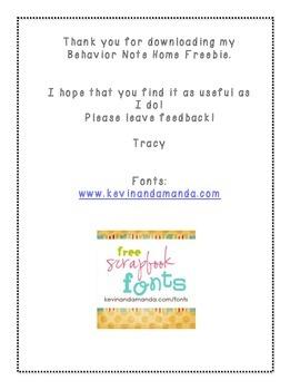 FREE English/Spanish Behavior Note Home