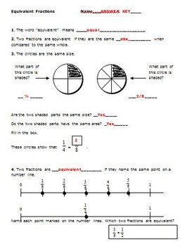 FREE!! Equivalent Fractions Activity - 3rd Grade Math