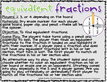 FREE Equivalent Fractions Games Sample Print and GO!