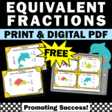 FREE Equivalent Fractions Game, Third Grade Equivalent Fractions Task Cards
