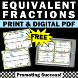 FREE Equivalent Fractions on a Number Line Task Cards 3rd Grade Math Activities