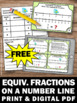 FREE Equivalent Fractions on a Number Line Task Cards 3rd