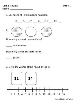FREE Everyday Mathematics Unit 1 Review Sheet Grade 1