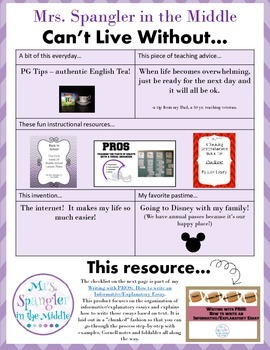 Can't Live Without it ~ FREE Explanatory/Informative Essay Checklist