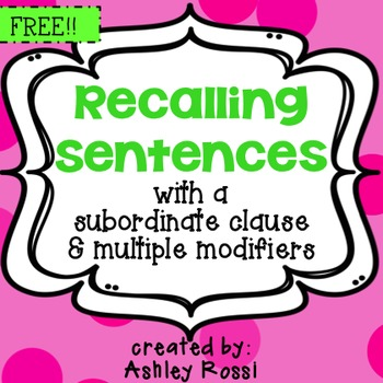 Recalling Sentences For Speech Therapy