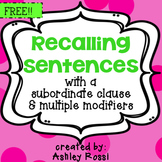 Expressive Language Activities Recalling Sentences For Speech Therapy
