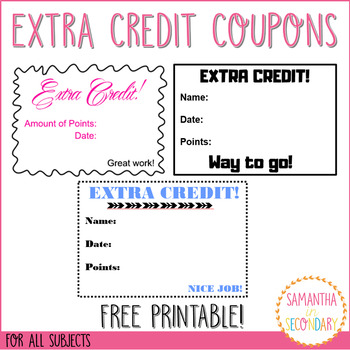 free extra credit coupon printable by samantha in secondary tpt