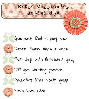 FREE Extra Curricular Activities Form