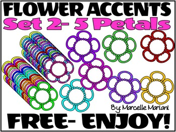 FREE FLOWER ACCENTS SET 2- 5 PETAL FLOWERS -COMMERCIAL USE