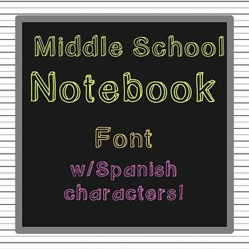 FREE FONT - Middle School Notebook w/ Spanish Ch - personal classroom use