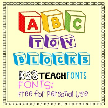 FREE FONTS:  KB3 Toy Blocks 123 (Personal Use: K26 Series)